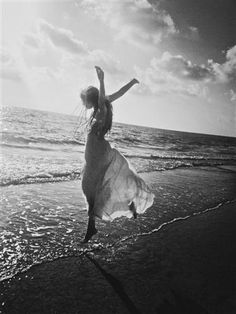 Dancing on the edge of the ocean.
