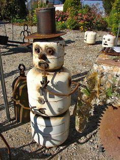 Junk snowman! idea, christmas deco, snowman crafts, treasur, garden art, propan tank, junk art, metal art, tanks