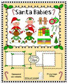 Just added! Santa Babies - Clip art with frames. $ http://www.teacherspayteachers.com/Product/Clip-Art-Santa-Babies-1018445