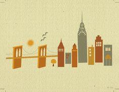 New York with Brooklyn Bridge Skyline