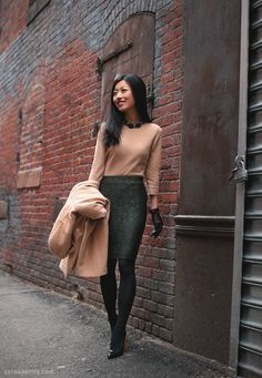 Extra Petite // Ann Taylor lace pencil skirt, Camel cape, Talbots petites cashmere sweater and necklace, gloves, YSL pumps