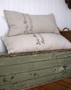 antique German sack bolster pillows