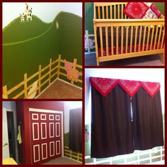 Our little boy's farm/western themed room! Used bandanas tucked Under the mattress as a bed skirt and more bandanas as a valance. Closet doors are painted to looked like a barn. :)