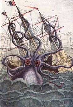 French School, (19th century) - Giant Octopus, illustration from 'L'Histoire Naturelle Generale et Particuliere ses Mollusques'.