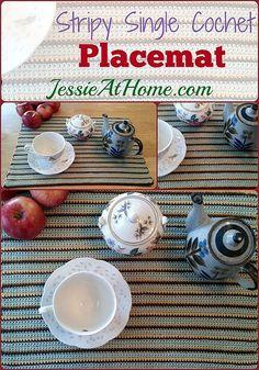 Stripy Single Crochet Placemat ~ Free Crochet Pattern