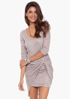 Lawrence Knot Dress in Taupe