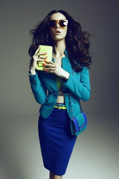 Blue Jacket, Blue Skirt, Blue Clutch... Yellow!