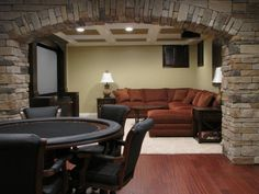 ideas for basements - love the stone!!