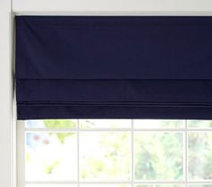Twill Cordless Roman Shade with Blackout Lining. Yup!
