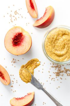 Homemade Peach Mustard -- sweet, spicy, and easier to make than you might think! Sub xylitol for the sugar.