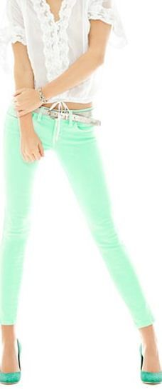 Mint jeans white top!