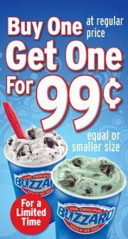 BOGO Dairy Queen Blizzard for $0.99
