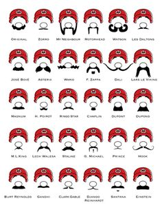 art crafts, mustach, chart, video games, mario brother