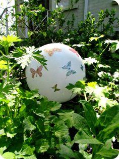 Garden Gazing Ball, How to make a garden ball, how to make a gazing ball, light fixture recycle, Make your own garden ornaments, Mod Podge, Butterflies, handmade garden decor, garden crafts