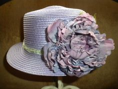 Womens Easter hat   OOAK Straw hat purple by IsabellasHatsandBows,