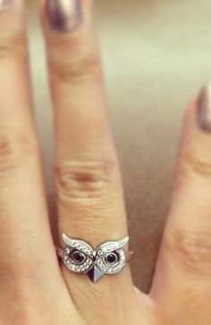 bling, fashion, girl, accessori, cute owl ring, beauti, closet, owl rings, owl clothes