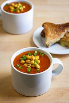 Roasted Red Pepper Soup with Roasted Chickpeas