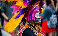 Flamboyant costume at New Orleans' Mardi Gras in March
