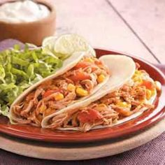 Lime chicken tacos in the slow cooker
