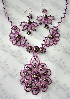 Purple Needle Tatted Necklace Set