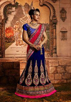USD 209.1 Blue Net Butta Work Wedding Lehenga Saree  34084