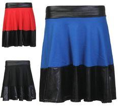 New Womens Ladies Latest Wet Look Panel Skater Skirt Trend Fashion High Street