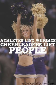 Cheerleaders lift people