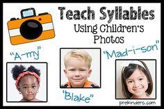 Teach Syllables Using Children's Photos @ PreKinders.com