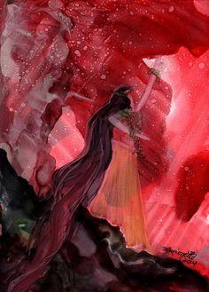 Pele Goddess of Fire Original Alcohol Inks on Yupo by kauaiartist, $35.00