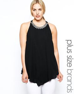 New Look Inspire Embellished Neckline Swing Shell