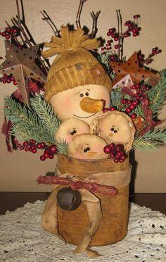 christmas decorations, christma decor, primitive snowmen, tin cans, snowman famili
