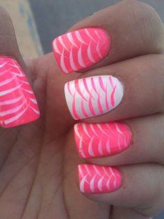 color, pink nails, nail designs, white, summer nails, nail arts, summer nail art, neon nails, nail ideas