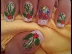 Christmas nail art tutorial - Holly manicure