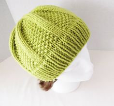 Moss Green Hand Knit Hat by Yarnettes on Etsy