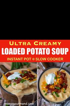 Loaded Baked Potato Soup recipe tastes like a cheesy twice baked potato in a thick and creamy soup. Make easy Pressure Cooker Baked Potato Soup in the instant pot or crock pot for a comforting weeknight dinner.