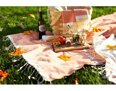 Fouta towels make the perfect blanket for a spring picnic.