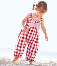 Red checks playsuit