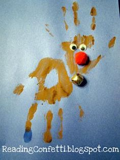 Handprint rudolph reindeer, preschool christmas crafts