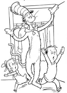 Dr Seuss Coloring Pages for down-time during the party
