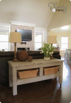 decor, pottery barn inspired, couch, potteri barn, consol tabl, inspir consol, barns, sofa tabl, console tables