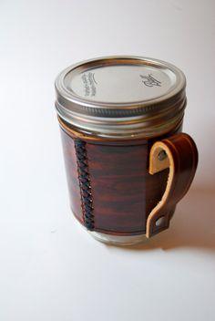 handmade leather wraps for Mason Jars..coverts into coffee mugs