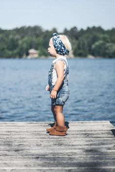 Overalls, head wrap and Moccasins= BoHo baby perfection| kids clothes, kids fashion, children's fashion @Sage Corson Corson Daves
