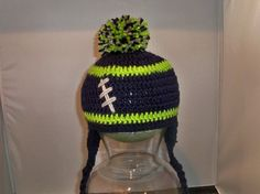 Seattle Seahawks football hat. Crochet