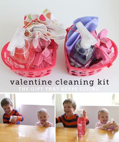 Toddlers LOVE to clean (they're weird like that)  - mine went crazy over these baskets