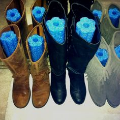What a great idea - pool noodles make inexpensive boot shapers!  You can get these at the Dollar Tree.