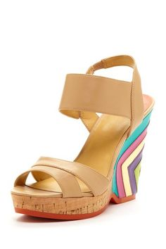 Toolin Multicolor Wedge Sandal  by Nine West - chevron heel!
