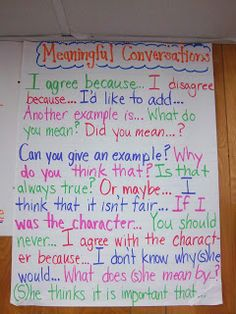 Here's a nice anchor chart on meaningful conversations.