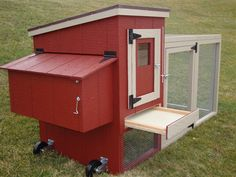 My new mini-coop from Meyer Hatchery. Mobile and durable with an outside egg collection box.