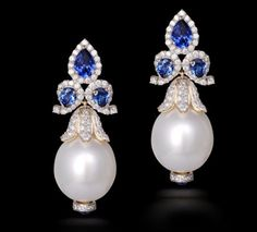 Sapphire & South Sea Pearl Earring