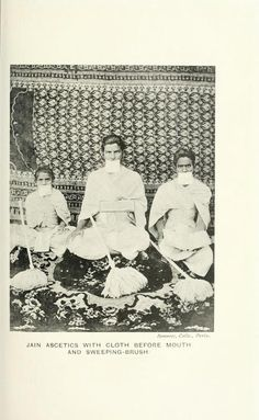 Jain ascetics with cloth before mouth and...